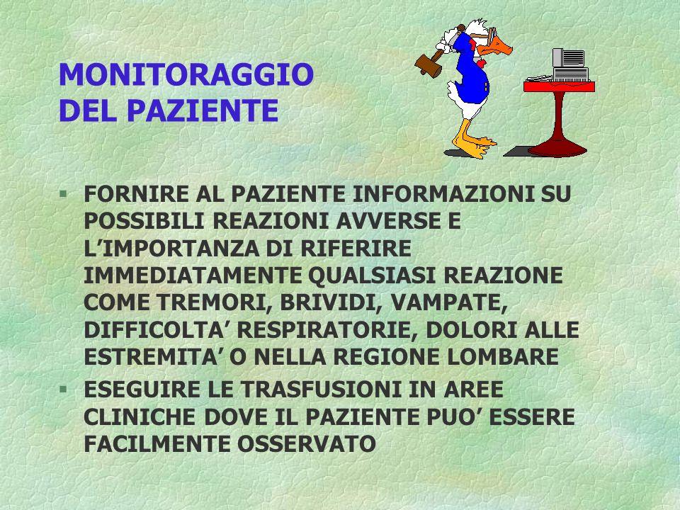MONITORAGGIO DEL PAZIENTE