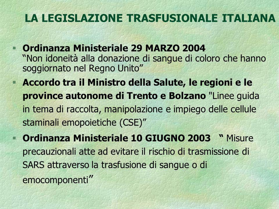 LA LEGISLAZIONE TRASFUSIONALE ITALIANA