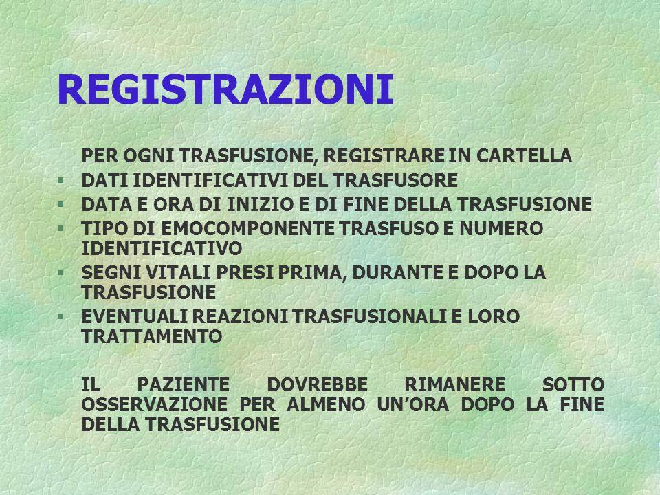 REGISTRAZIONI PER OGNI TRASFUSIONE, REGISTRARE IN CARTELLA