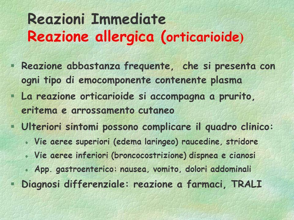 Reazioni Immediate Reazione allergica (orticarioide)