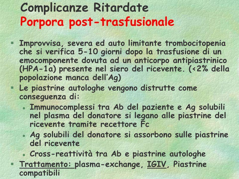 Complicanze Ritardate Porpora post-trasfusionale