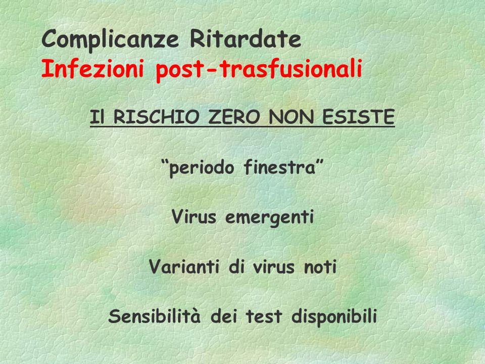 Complicanze Ritardate Infezioni post-trasfusionali