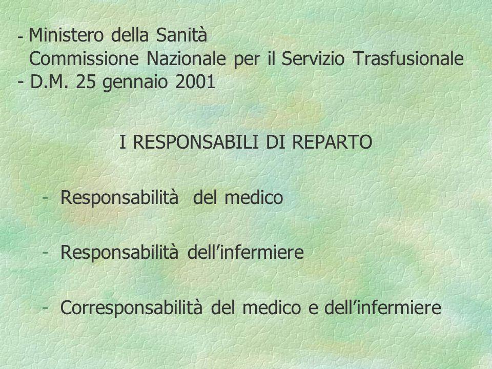 I RESPONSABILI DI REPARTO