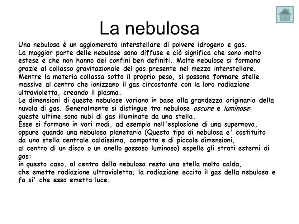La nebulosaUna nebulosa è un agglomerato interstellare di polvere idrogeno e gas.