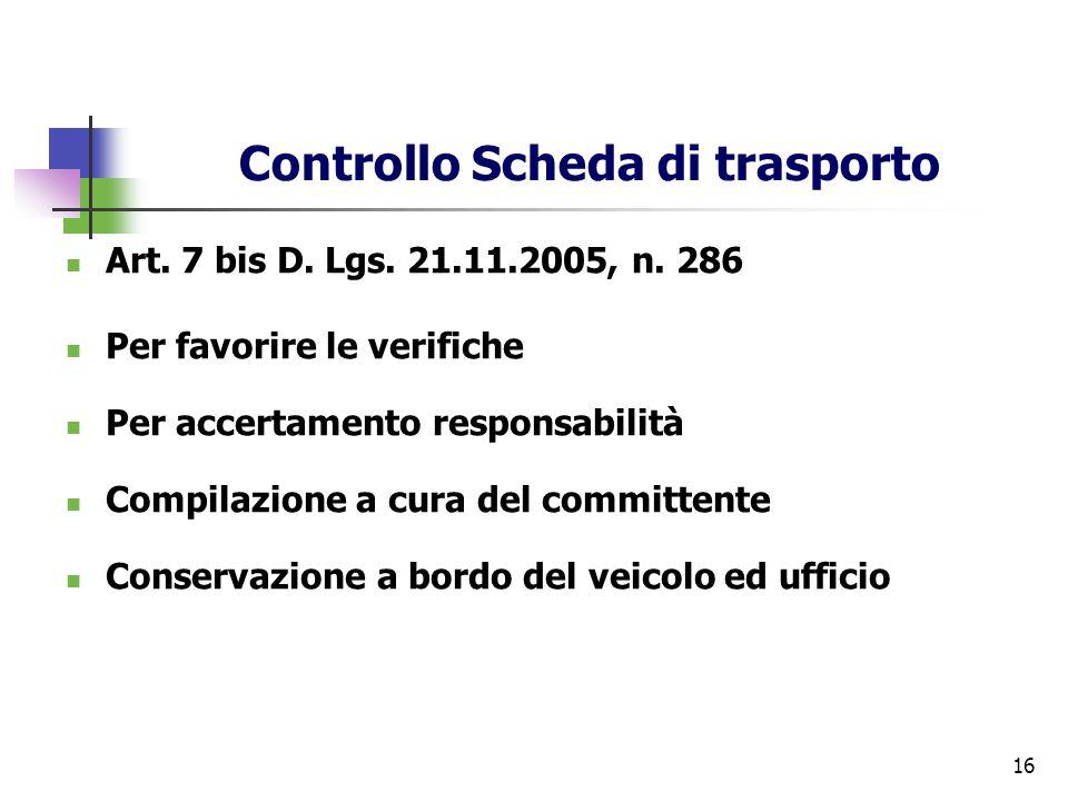 Controllo Scheda di trasporto