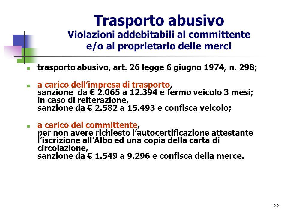 Trasporto abusivo Violazioni addebitabili al committente e/o al proprietario delle merci