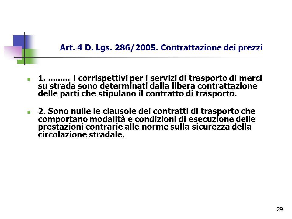Art. 4 D. Lgs. 286/2005. Contrattazione dei prezzi