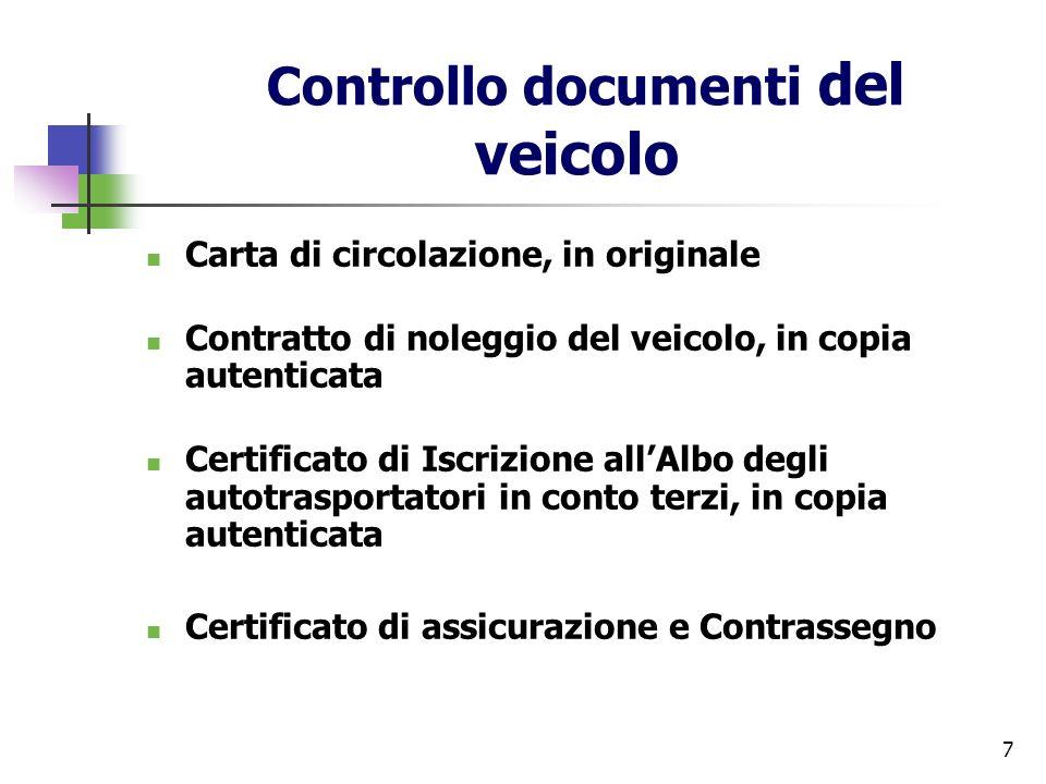 Controllo documenti del veicolo