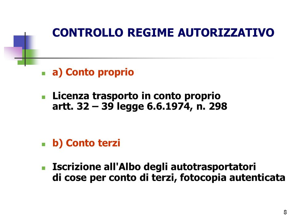 CONTROLLO REGIME AUTORIZZATIVO