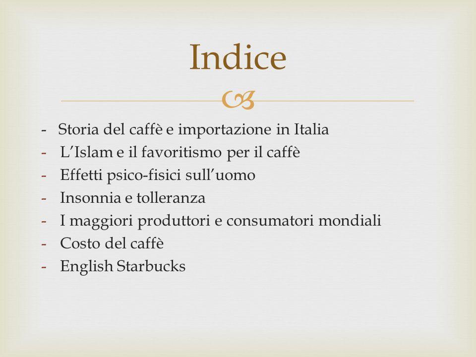 Indice - Storia del caffè e importazione in Italia