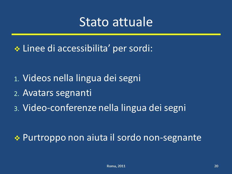 Stato attuale Linee di accessibilita' per sordi: