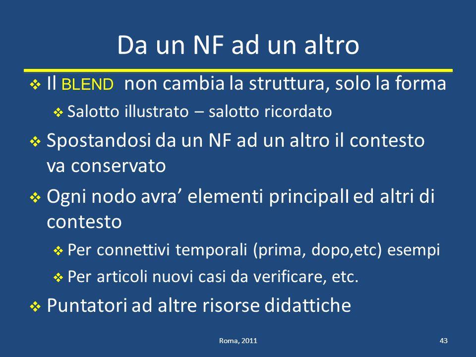 Da un NF ad un altro Il BLEND non cambia la struttura, solo la forma
