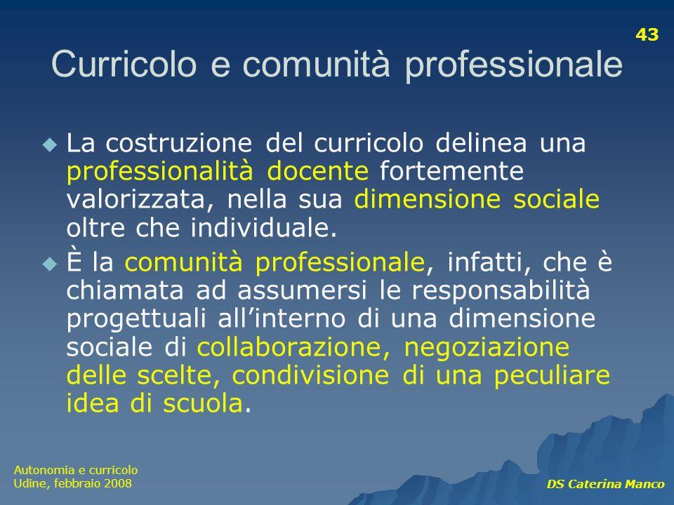 Curricolo e comunità professionale