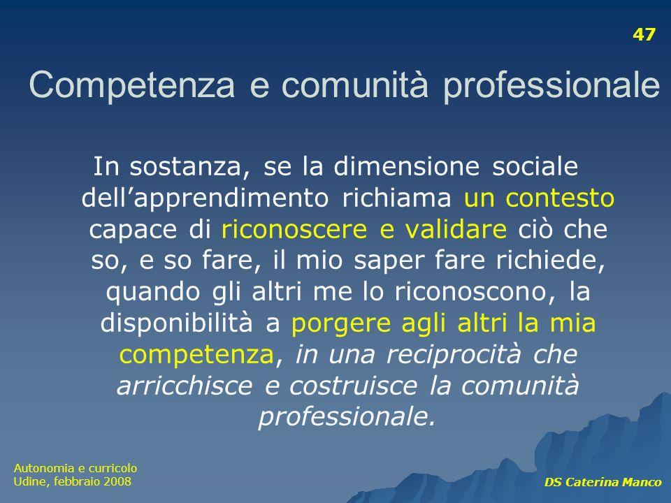 Competenza e comunità professionale