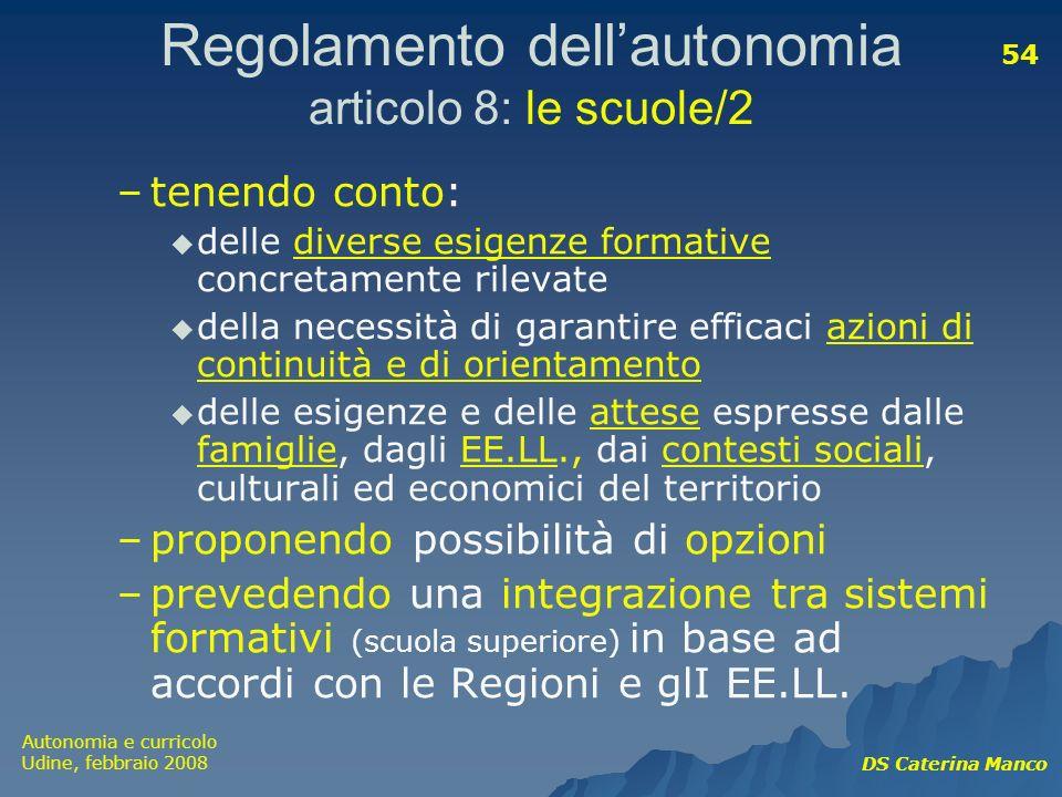 Regolamento dell'autonomia articolo 8: le scuole/2
