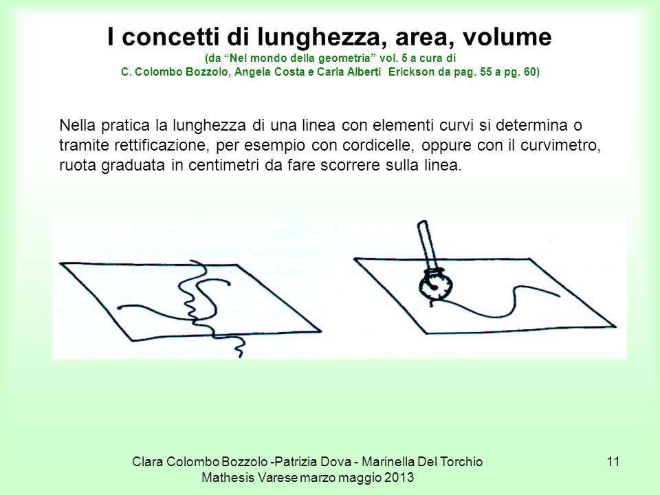I concetti di lunghezza, area, volume (da Nel mondo della geometria vol. 5 a cura di C. Colombo Bozzolo, Angela Costa e Carla Alberti Erickson da pag. 55 a pg. 60)