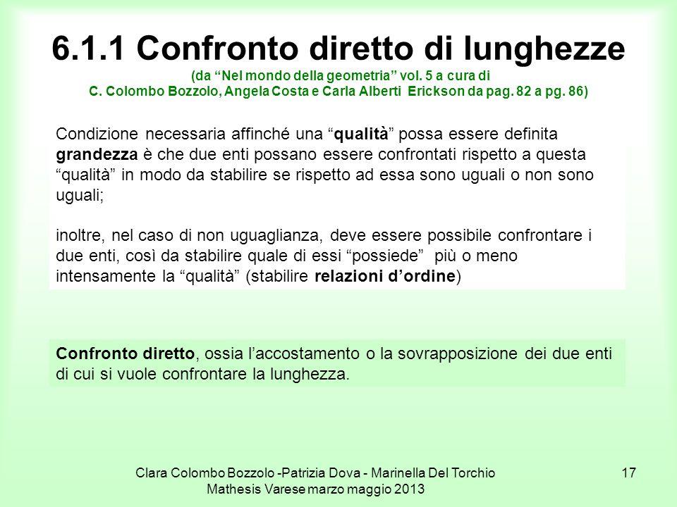 6.1.1 Confronto diretto di lunghezze (da Nel mondo della geometria vol. 5 a cura di C. Colombo Bozzolo, Angela Costa e Carla Alberti Erickson da pag. 82 a pg. 86)