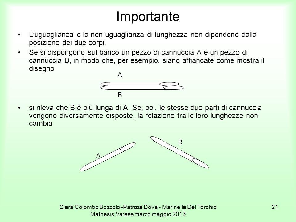 Importante L'uguaglianza o la non uguaglianza di lunghezza non dipendono dalla posizione dei due corpi.