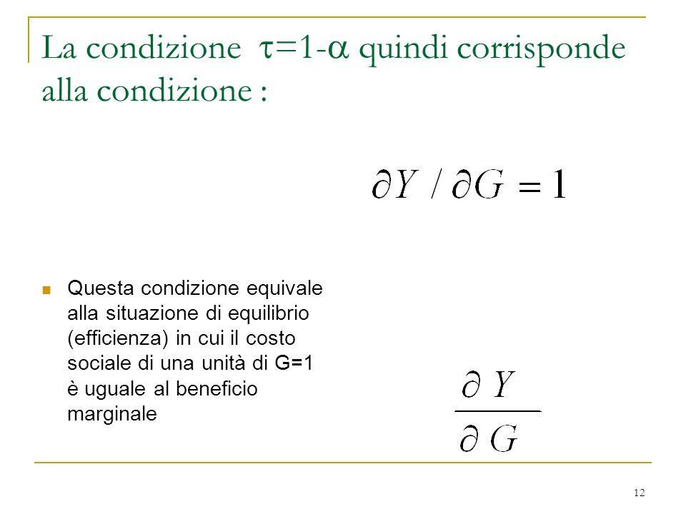La condizione =1- quindi corrisponde alla condizione :