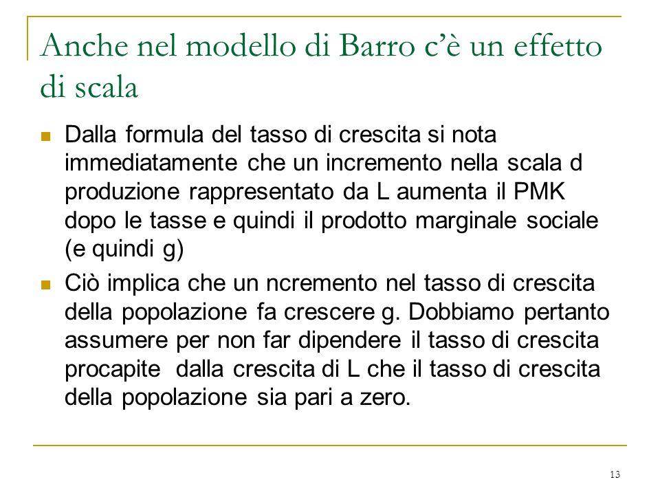 Anche nel modello di Barro c'è un effetto di scala