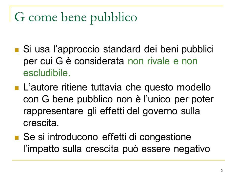 G come bene pubblico Si usa l'approccio standard dei beni pubblici per cui G è considerata non rivale e non escludibile.
