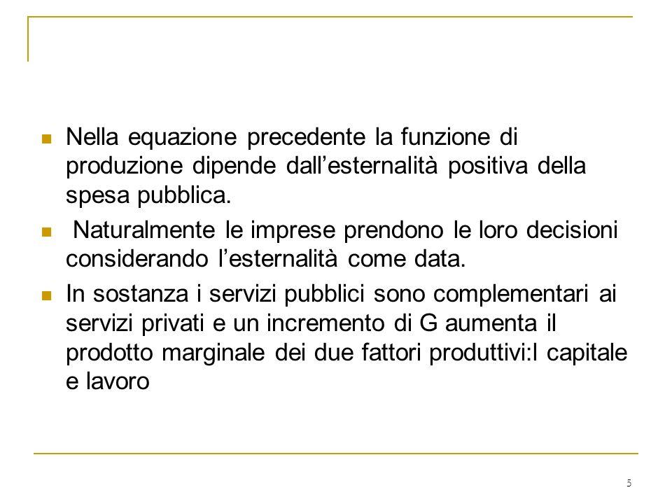 Nella equazione precedente la funzione di produzione dipende dall'esternalità positiva della spesa pubblica.