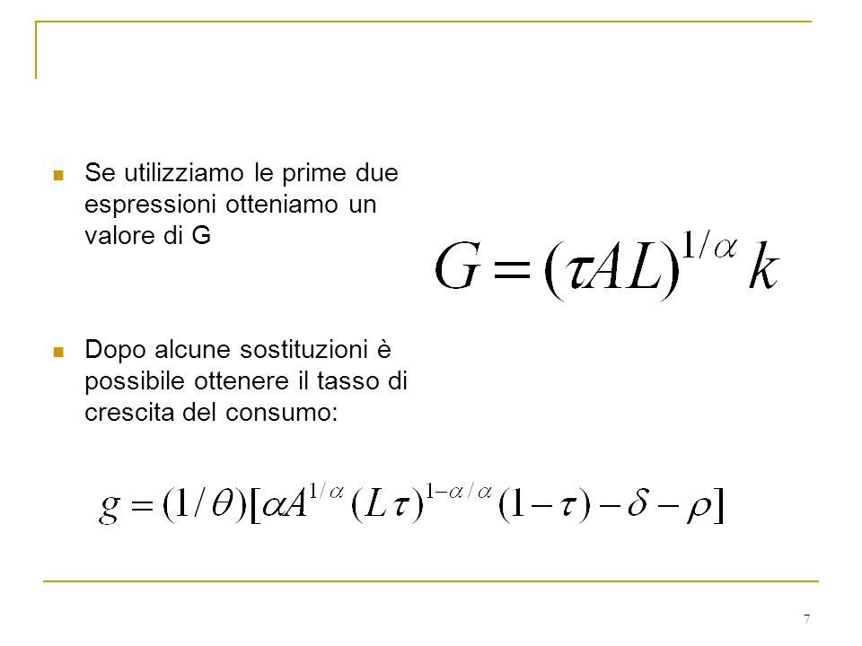 Se utilizziamo le prime due espressioni otteniamo un valore di G