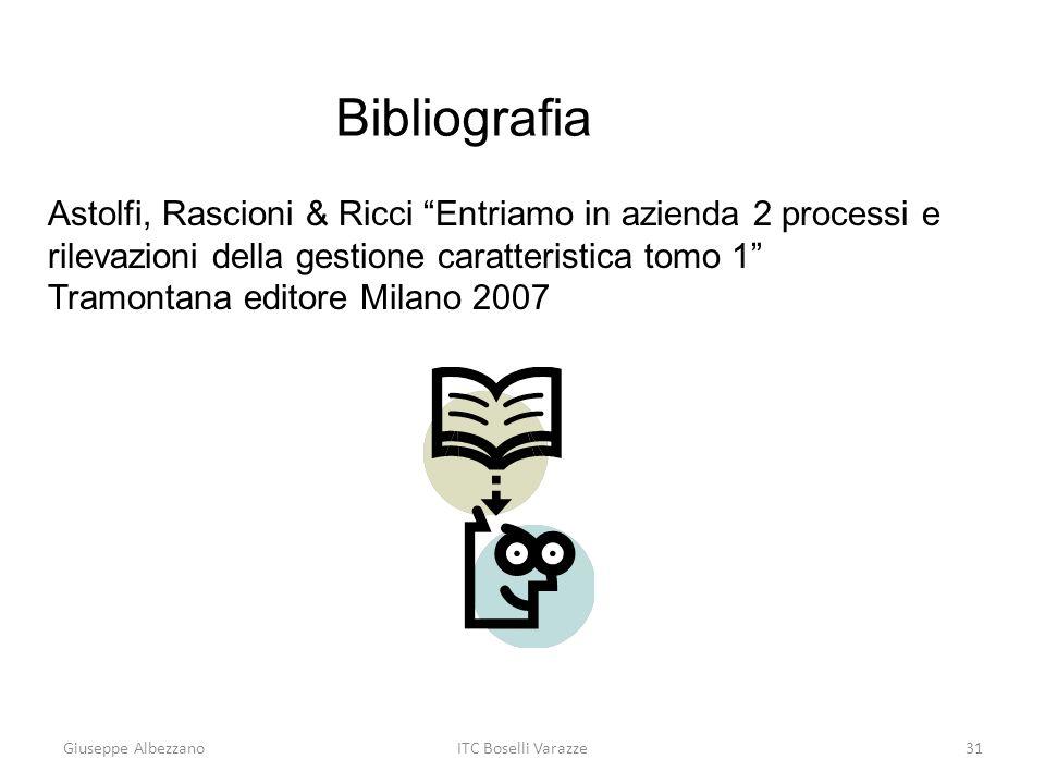 Bibliografia Astolfi, Rascioni & Ricci Entriamo in azienda 2 processi e rilevazioni della gestione caratteristica tomo 1