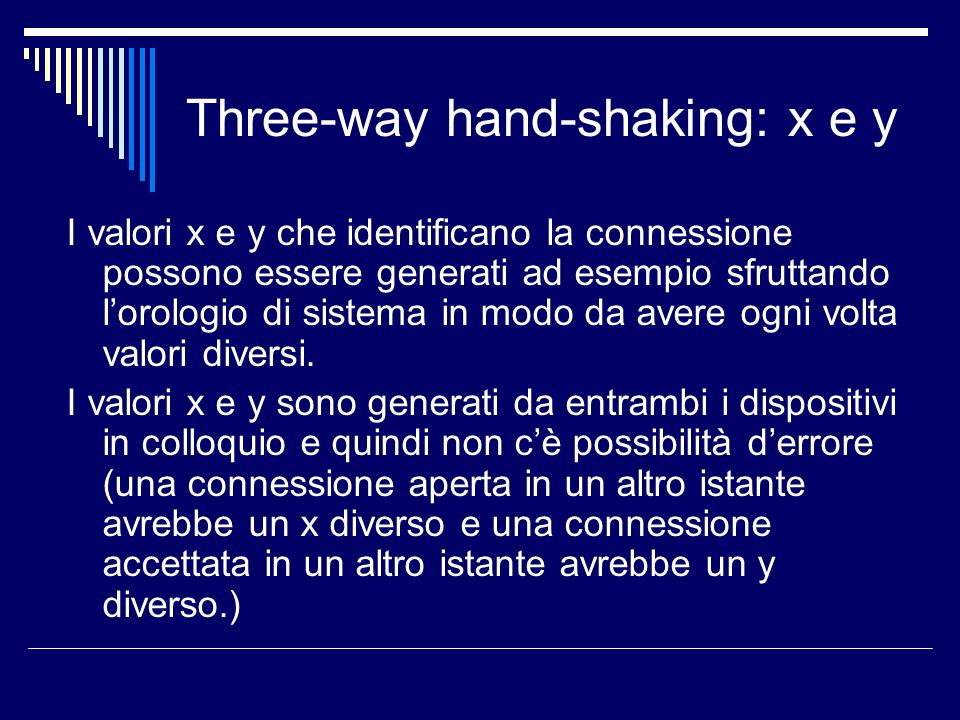 Three-way hand-shaking: x e y