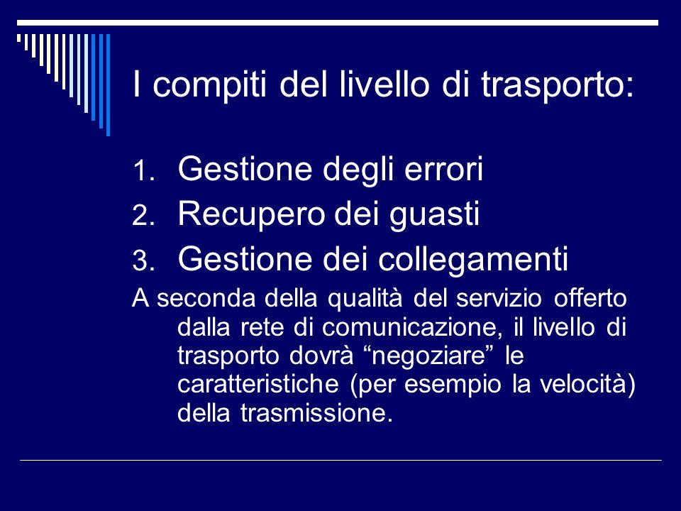 I compiti del livello di trasporto:
