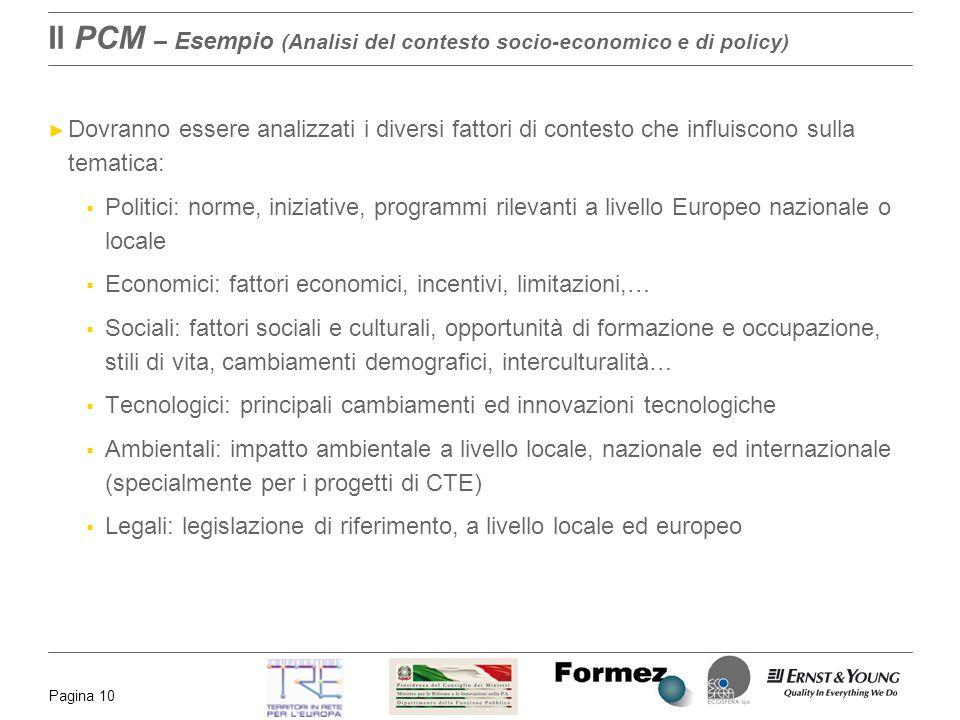 Il PCM – Esempio (Analisi del contesto socio-economico e di policy)