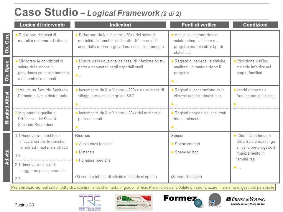 Caso Studio – Logical Framework (2 di 2)