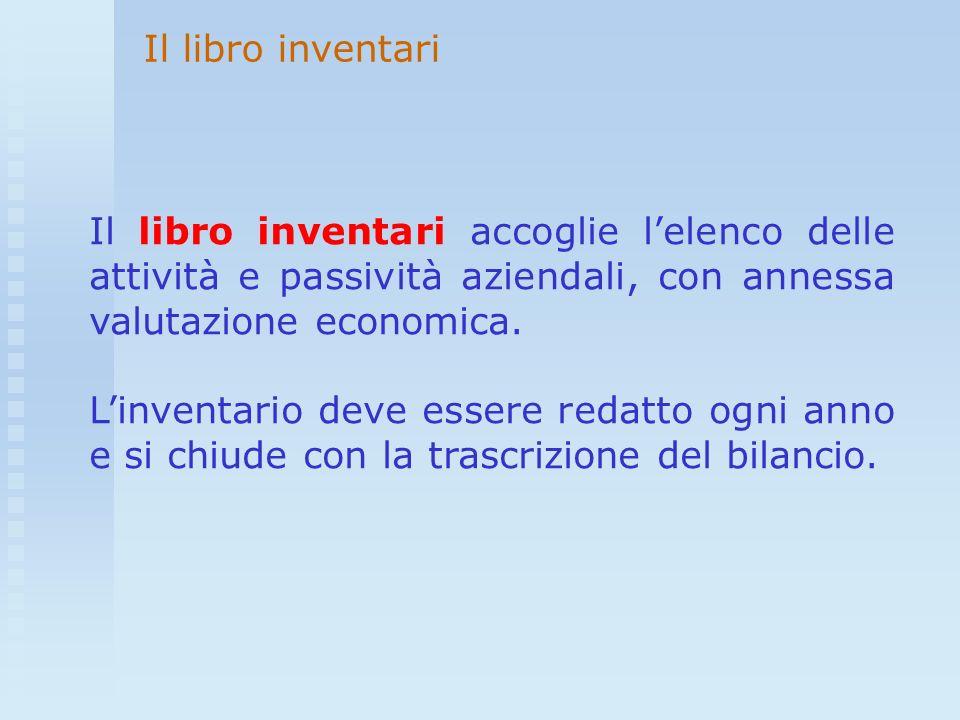 Il libro inventari Il libro inventari accoglie l'elenco delle attività e passività aziendali, con annessa valutazione economica.