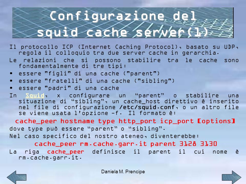 Configurazione del squid cache server(1)