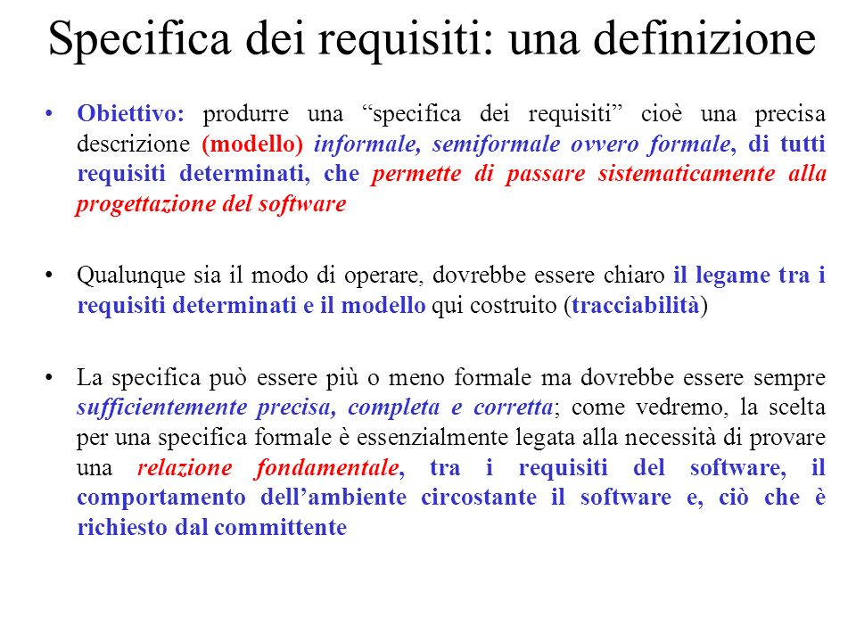 Specifica dei requisiti: una definizione