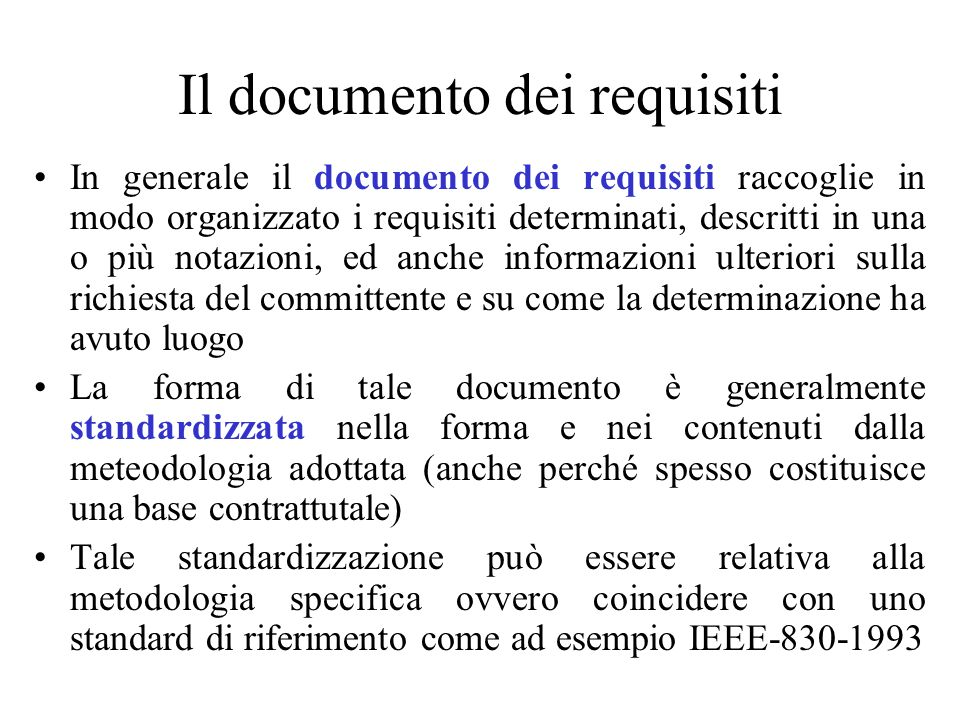 Il documento dei requisiti