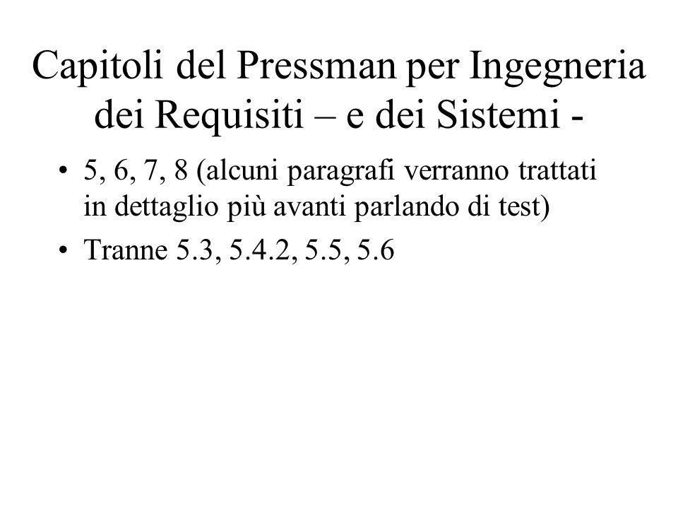 Capitoli del Pressman per Ingegneria dei Requisiti – e dei Sistemi -