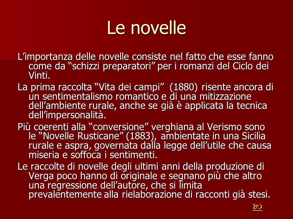 Le novelle L'importanza delle novelle consiste nel fatto che esse fanno come da schizzi preparatori per i romanzi del Ciclo dei Vinti.