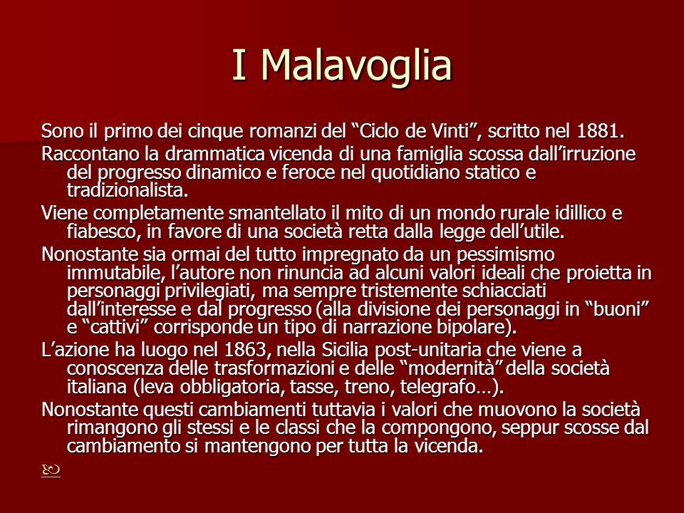 I Malavoglia Sono il primo dei cinque romanzi del Ciclo de Vinti , scritto nel 1881.