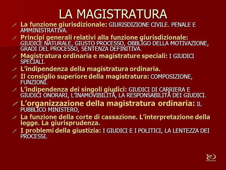 LA MAGISTRATURA La funzione giurisdizionale: GIURISDIZIONE CIVILE. PENALE E AMMINISTRATIVA.