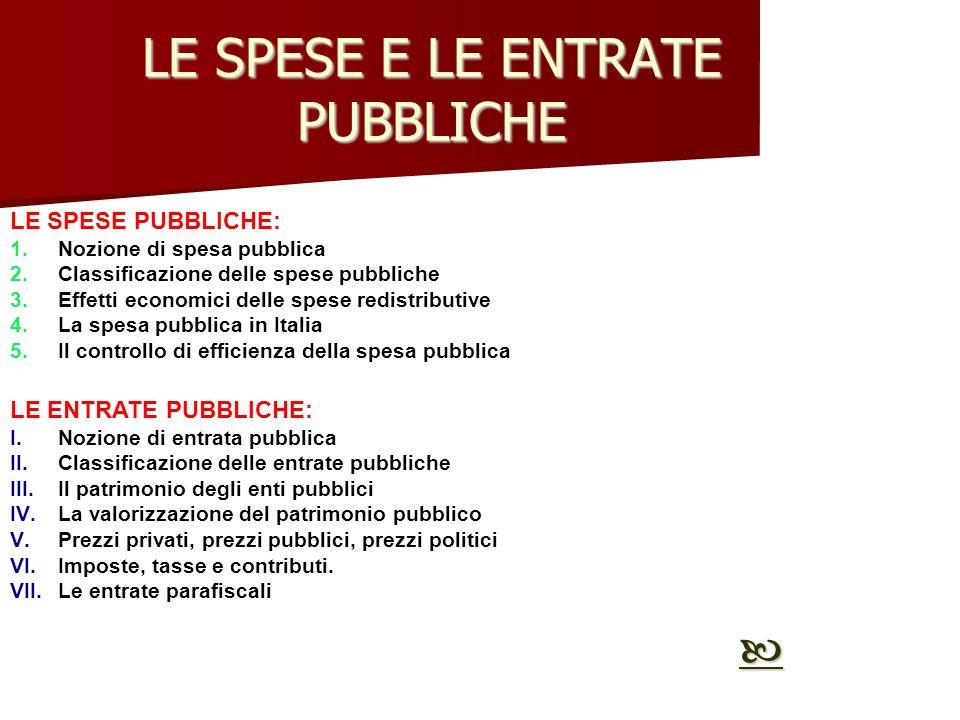 LE SPESE E LE ENTRATE PUBBLICHE