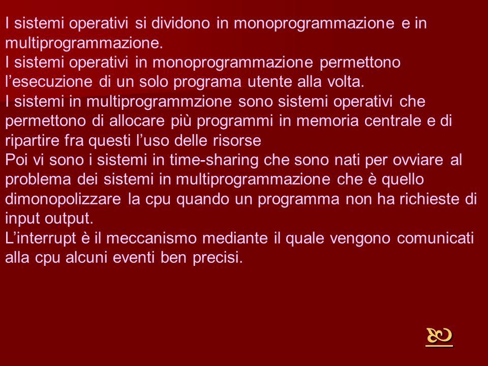 I sistemi operativi si dividono in monoprogrammazione e in multiprogrammazione.