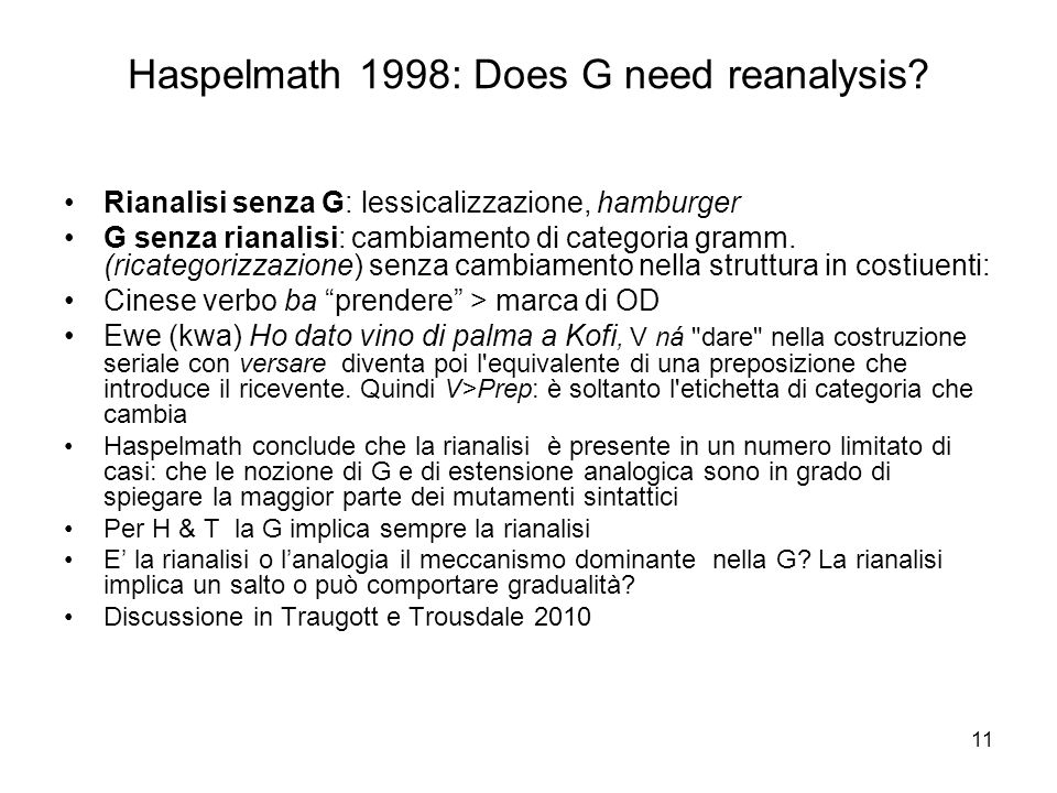 Haspelmath 1998: Does G need reanalysis