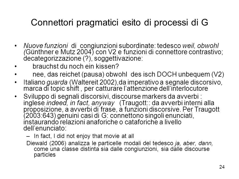 Connettori pragmatici esito di processi di G