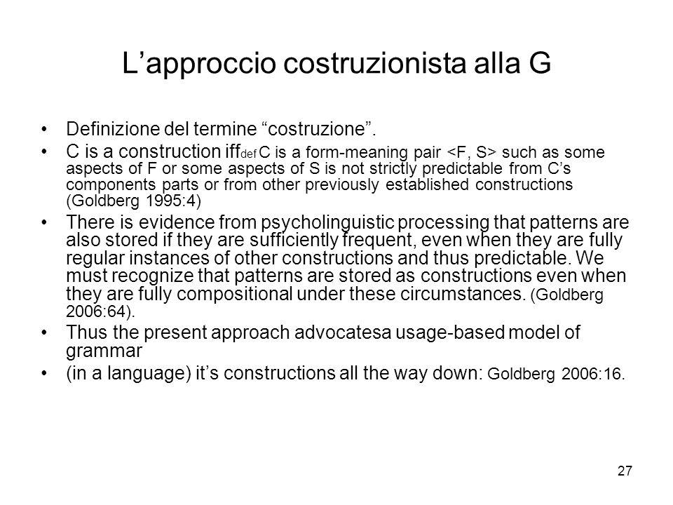 L'approccio costruzionista alla G