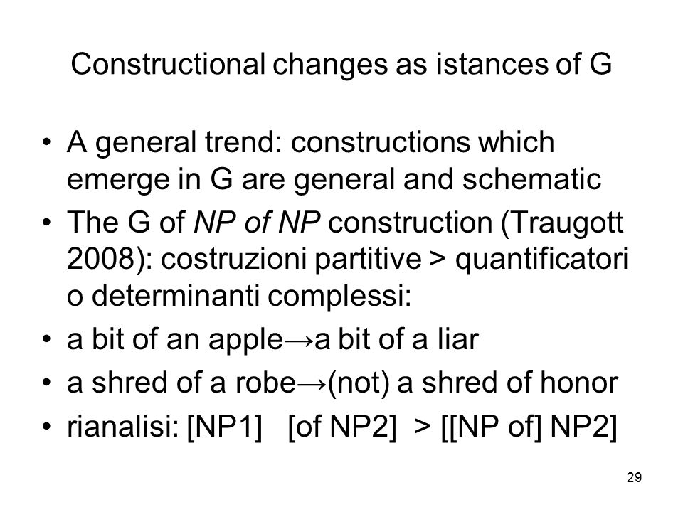Constructional changes as istances of G