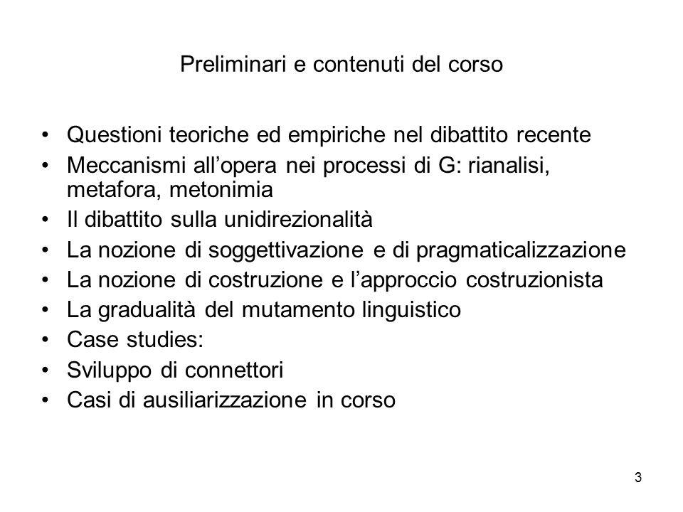 Preliminari e contenuti del corso
