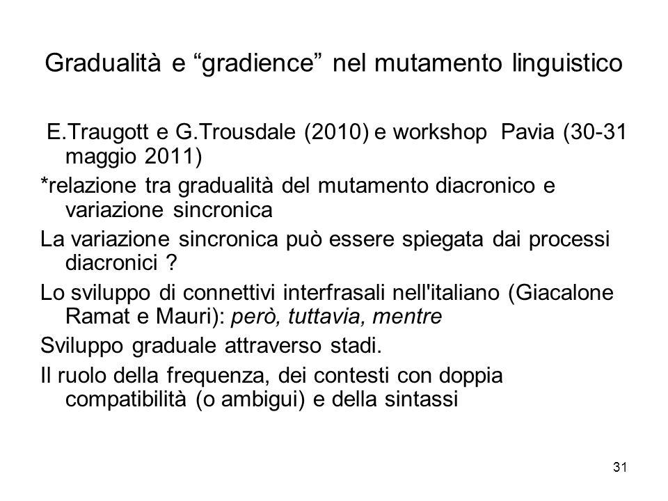 Gradualità e gradience nel mutamento linguistico