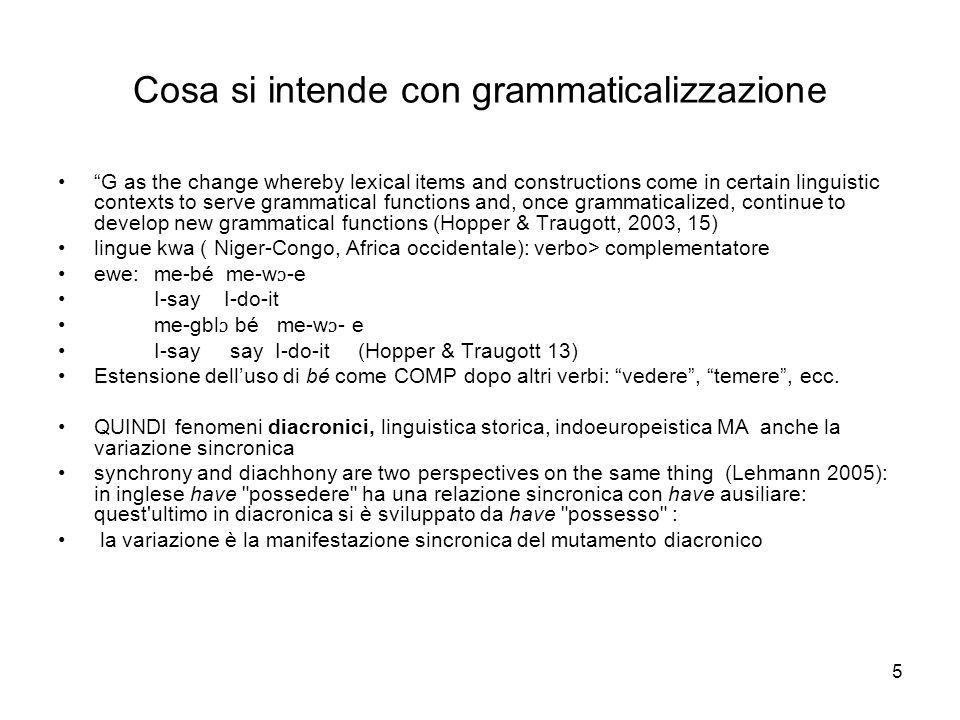 Cosa si intende con grammaticalizzazione