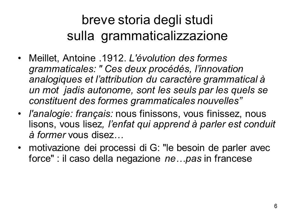 breve storia degli studi sulla grammaticalizzazione